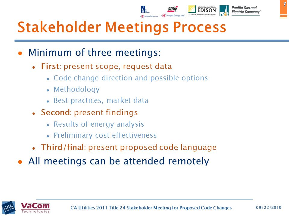 8 Submitting Comments ● Informal Comment Process ● Comments can be submitted to CASE authors, substantive comments will receive responses ● The team will work with stakeholders to resolve issues as best we can ● Questions and responses will not be posted online, but common or frequent questions will be communicated as necessary between stakeholders ● The CEC has a formal comment process during later stages of the official rulemaking process 09/22/2010 CA Utilities 2011 Title 24 Stakeholder Meeting for Proposed Code Changes