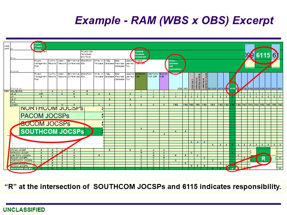 "UNCLASSIFIED Example - RAM (WBS x OBS) Excerpt ""R"" at the intersection of SOUTHCOM JOCSPs and 6115 indicates responsibility."