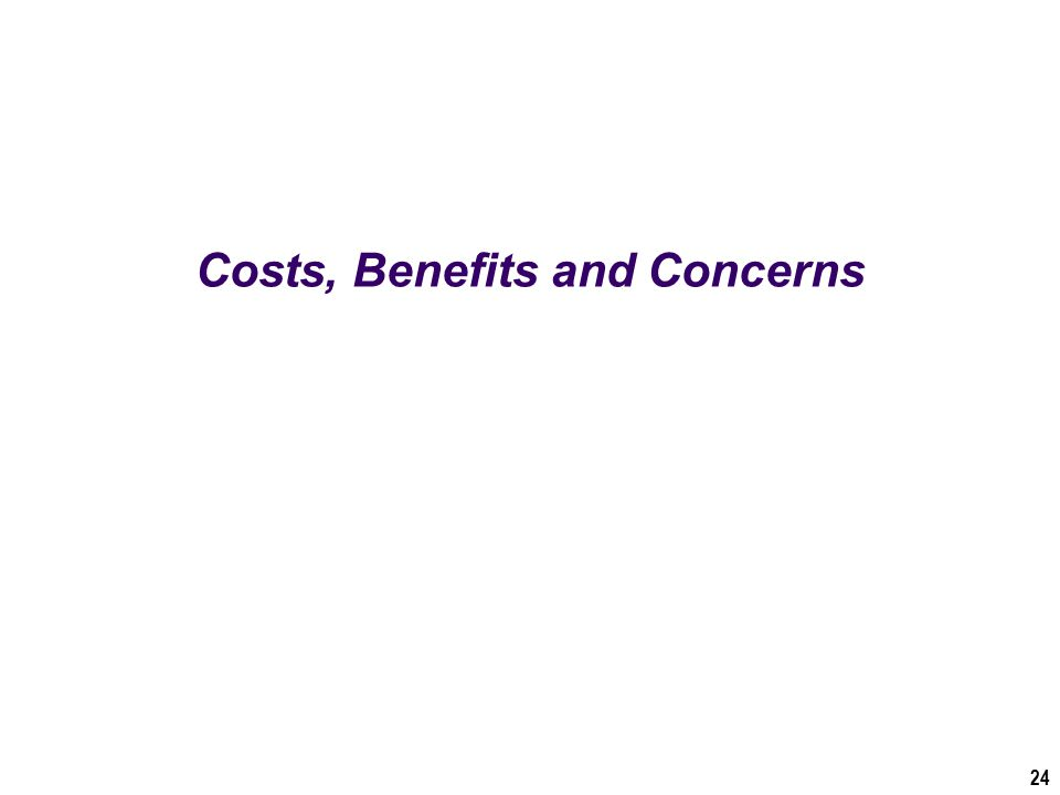 Costs, Benefits and Concerns 24