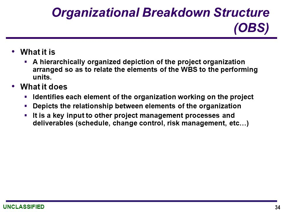 UNCLASSIFIED Organizational Breakdown Structure (OBS) What it is  A hierarchically organized depiction of the project organization arranged so as to relate the elements of the WBS to the performing units.