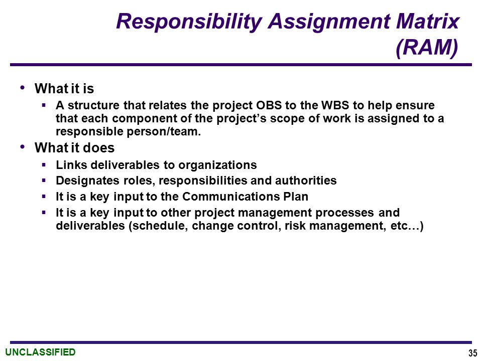 UNCLASSIFIED Responsibility Assignment Matrix (RAM) What it is  A structure that relates the project OBS to the WBS to help ensure that each component of the project's scope of work is assigned to a responsible person/team.