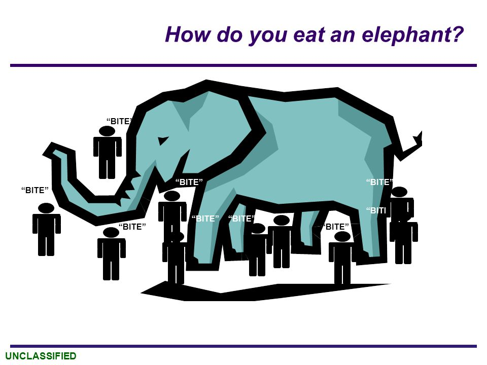 "UNCLASSIFIED How do you eat an elephant? ""BITE"""