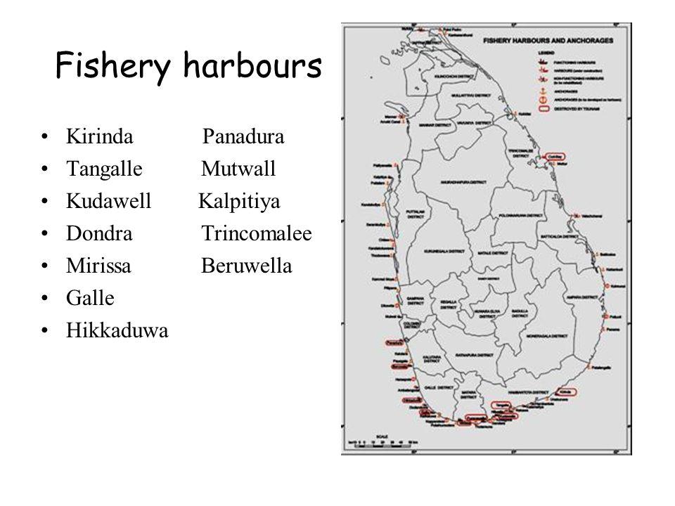 Fishery harbours Kirinda Panadura Tangalle Mutwall Kudawell Kalpitiya Dondra Trincomalee Mirissa Beruwella Galle Hikkaduwa map of SL