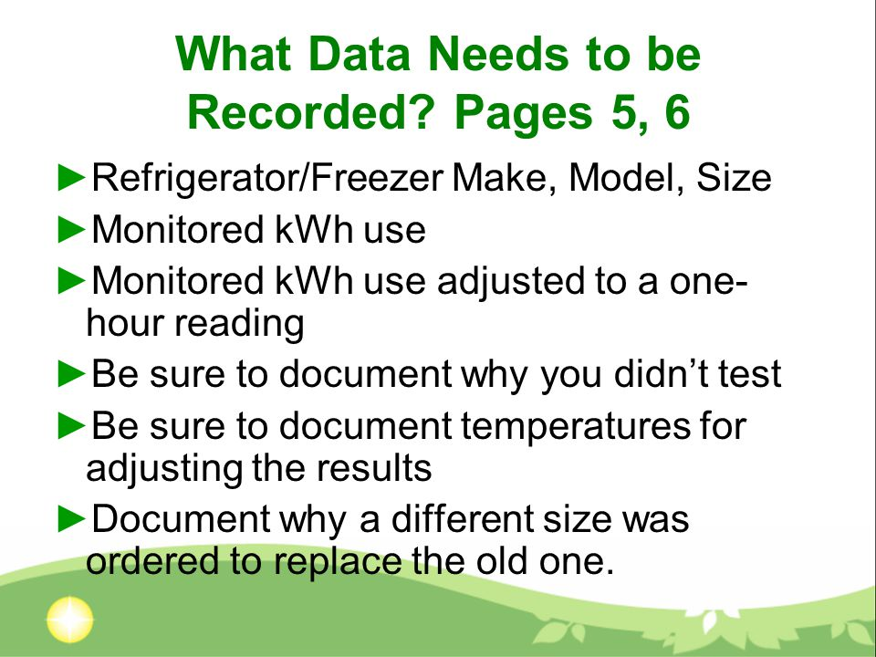 What Data Needs to be Recorded.