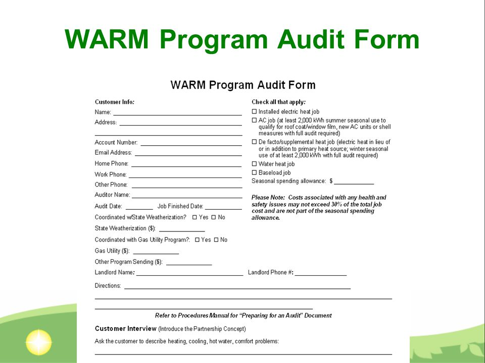 WARM Program Audit Form