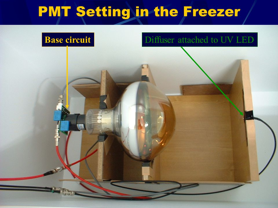 PMT Setting in the Freezer Base circuit Diffuser attached to UV LED