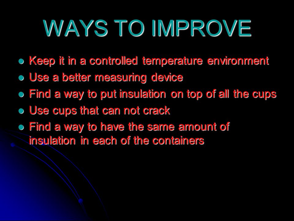 WAYS TO IMPROVE Keep it in a controlled temperature environment Keep it in a controlled temperature environment Use a better measuring device Use a better measuring device Find a way to put insulation on top of all the cups Find a way to put insulation on top of all the cups Use cups that can not crack Use cups that can not crack Find a way to have the same amount of insulation in each of the containers Find a way to have the same amount of insulation in each of the containers