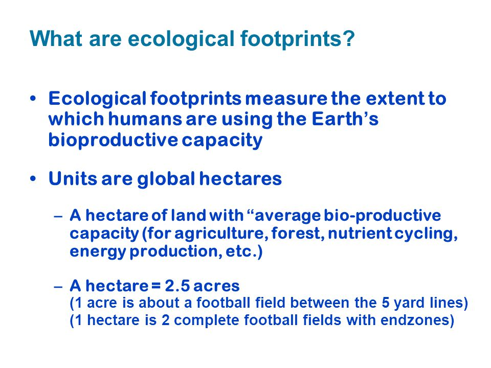 What are ecological footprints? Ecological footprints measure the extent to which humans are using the Earth's bioproductive capacity Units are global