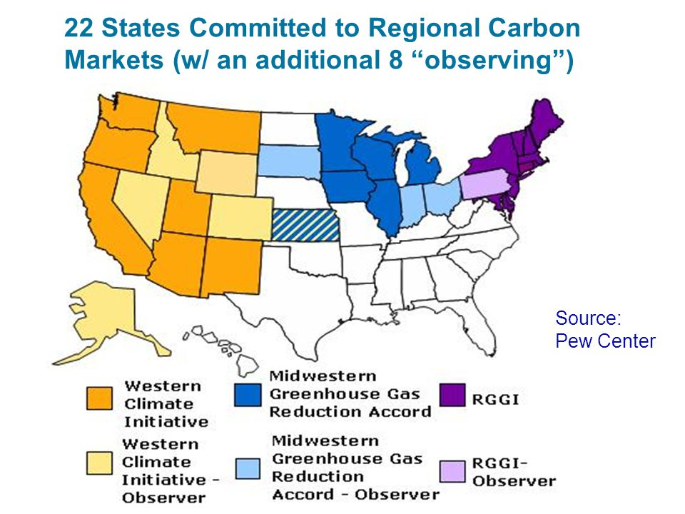 """22 States Committed to Regional Carbon Markets (w/ an additional 8 """"observing"""") Source: Pew Center"""