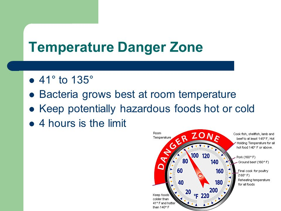 Temperature Danger Zone 41° to 135° Bacteria grows best at room temperature Keep potentially hazardous foods hot or cold 4 hours is the limit