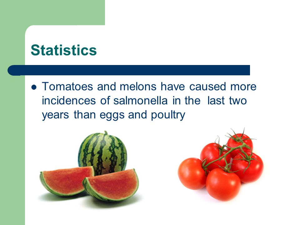 Statistics Tomatoes and melons have caused more incidences of salmonella in the last two years than eggs and poultry
