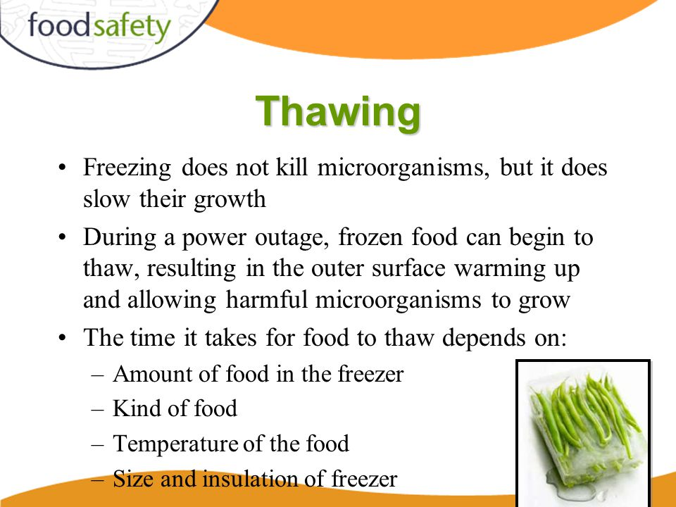 Thawing Freezing does not kill microorganisms, but it does slow their growth During a power outage, frozen food can begin to thaw, resulting in the outer surface warming up and allowing harmful microorganisms to grow The time it takes for food to thaw depends on: –Amount of food in the freezer –Kind of food –Temperature of the food –Size and insulation of freezer 49