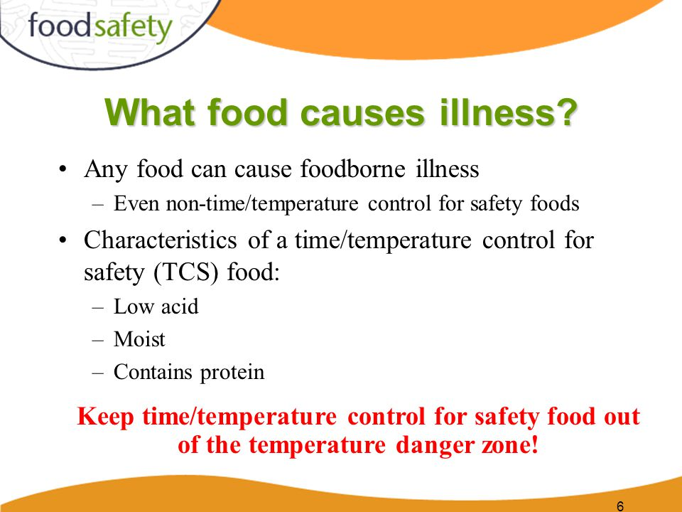 Temperature danger zone When food is in this temperature range, harmful bacteria can grow, multiply, and possibly cause infection Bacteria can double in number in as little as 20 minutes 7
