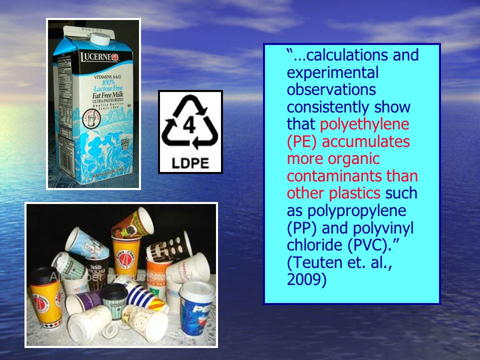 """""""…calculations and experimental observations consistently show that polyethylene (PE) accumulates more organic contaminants than other plastics such a"""