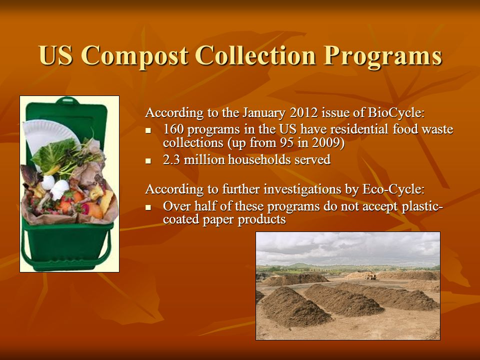 US Compost Collection Programs According to the January 2012 issue of BioCycle: 160 programs in the US have residential food waste collections (up fro