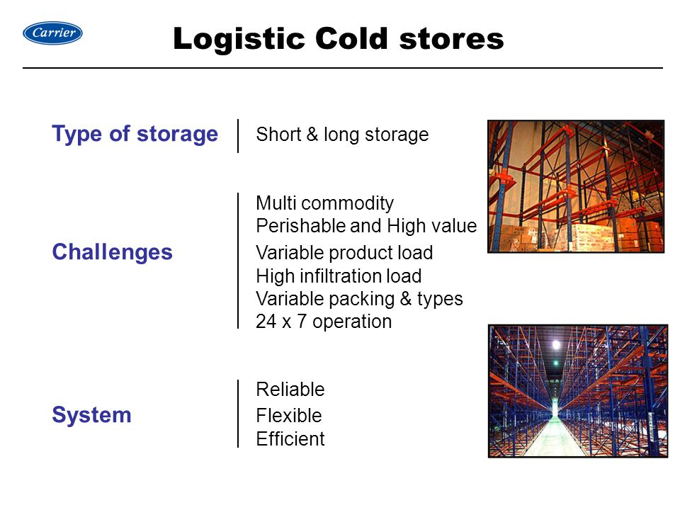 Logistic Cold stores Type of storage Short & long storage Multi commodity Perishable and High value Challenges Variable product load High infiltration load Variable packing & types 24 x 7 operation Reliable System Flexible Efficient