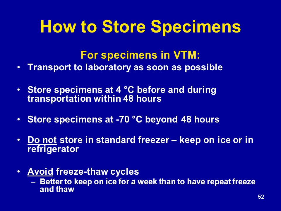 52 How to Store Specimens For specimens in VTM: Transport to laboratory as soon as possible Store specimens at 4 °C before and during transportation within 48 hours Store specimens at -70 °C beyond 48 hours Do not store in standard freezer – keep on ice or in refrigerator Avoid freeze-thaw cycles –Better to keep on ice for a week than to have repeat freeze and thaw
