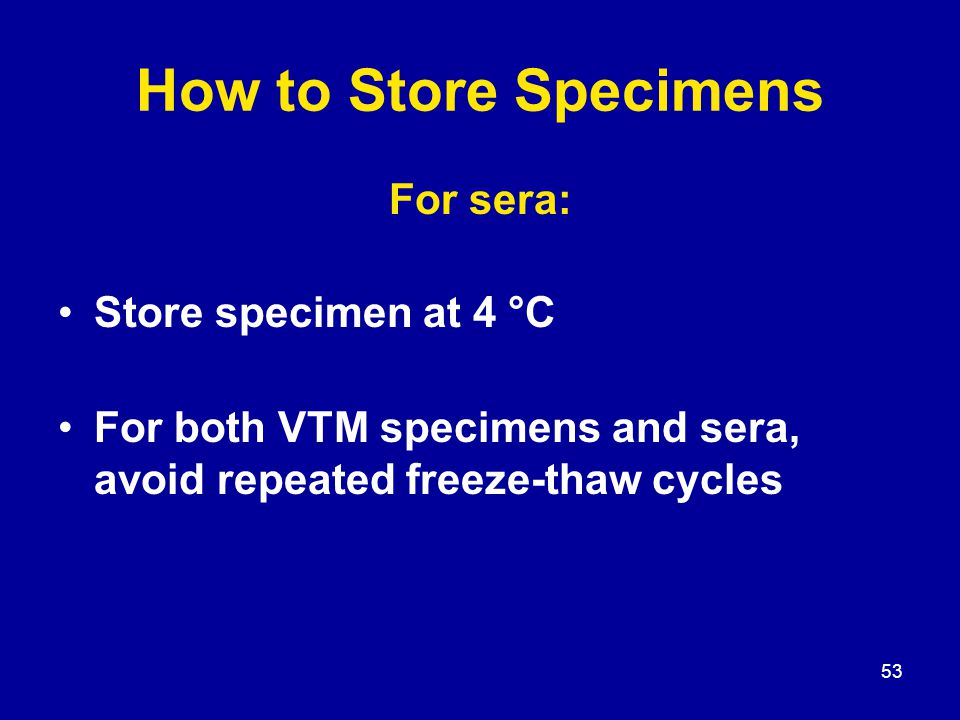 53 How to Store Specimens For sera: Store specimen at 4 °C For both VTM specimens and sera, avoid repeated freeze-thaw cycles