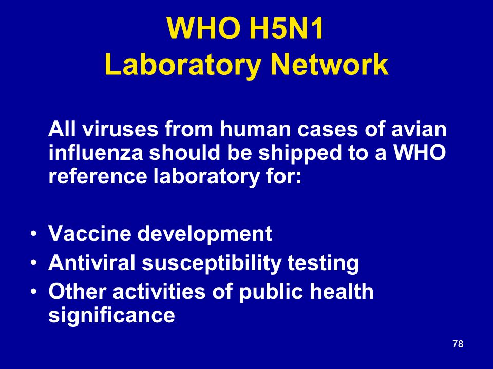 78 WHO H5N1 Laboratory Network All viruses from human cases of avian influenza should be shipped to a WHO reference laboratory for: Vaccine developmen