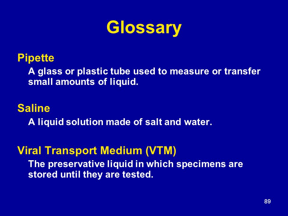 89 Glossary Pipette A glass or plastic tube used to measure or transfer small amounts of liquid.