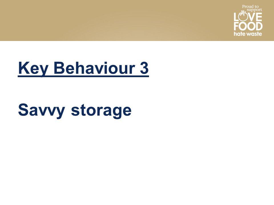 Key Behaviour 3 Savvy storage
