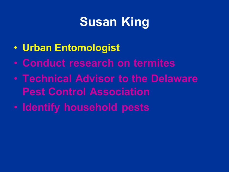 Susan King Urban Entomologist Conduct research on termites Technical Advisor to the Delaware Pest Control Association Identify household pests