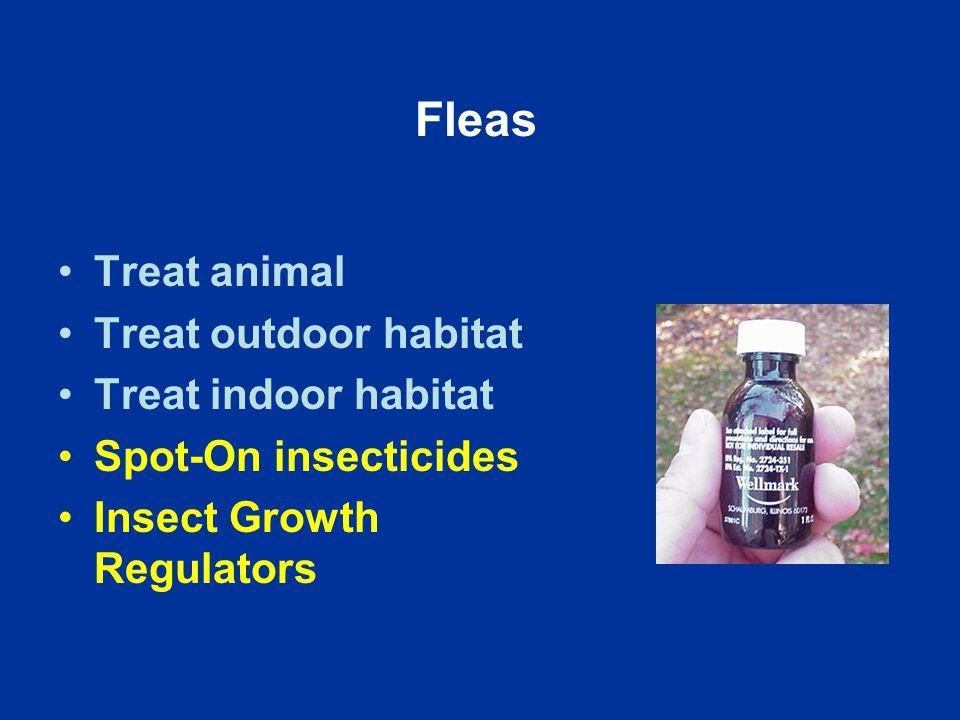Fleas Treat animal Treat outdoor habitat Treat indoor habitat Spot-On insecticides Insect Growth Regulators