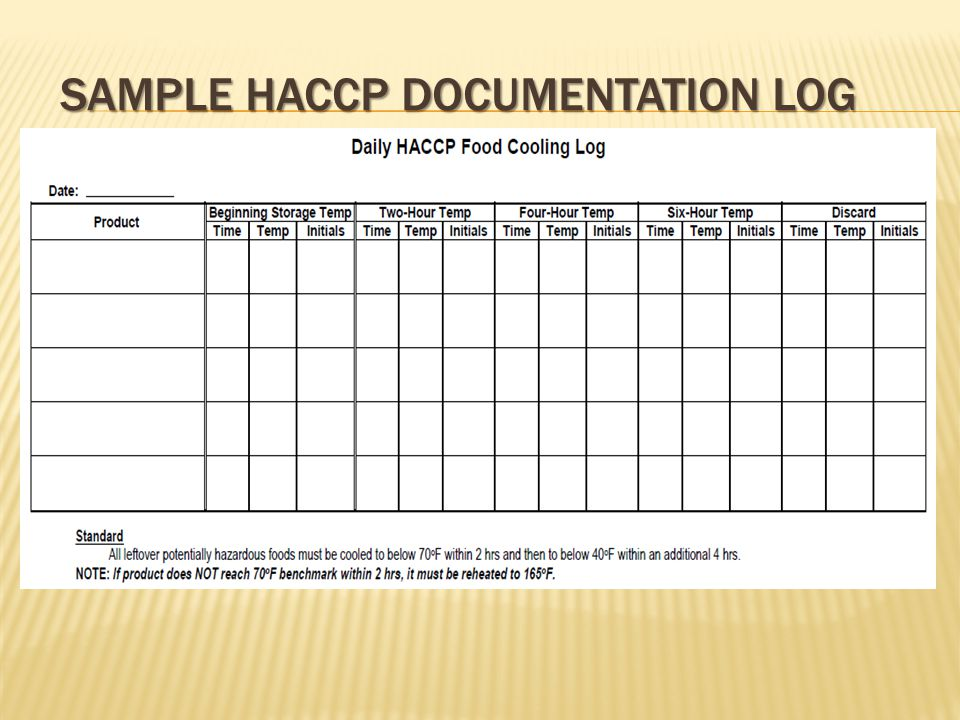 SAMPLE HACCP DOCUMENTATION LOG