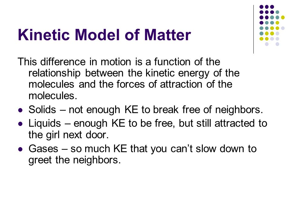 Kinetic Model of Matter This difference in motion is a function of the relationship between the kinetic energy of the molecules and the forces of attraction of the molecules.