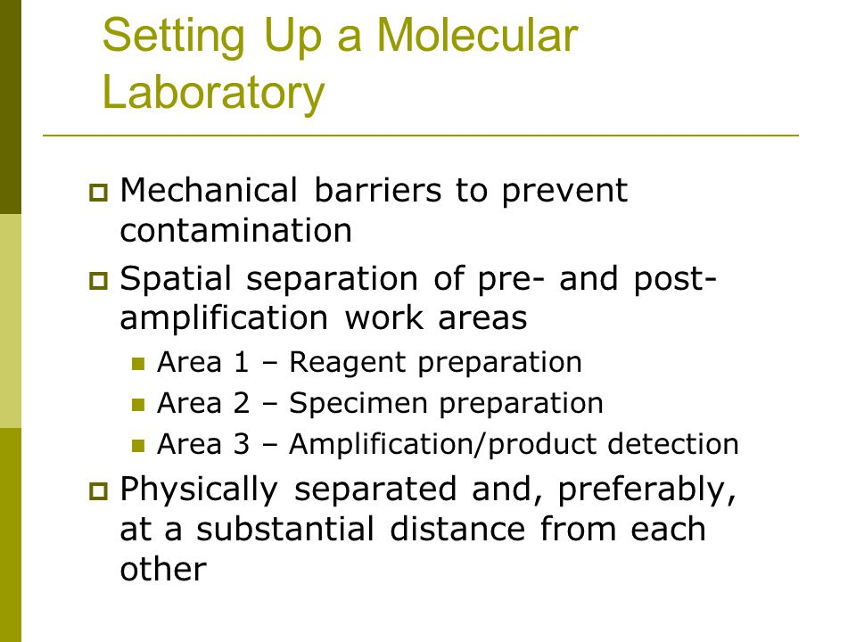 Setting Up a Molecular Laboratory  Mechanical barriers to prevent contamination  Spatial separation of pre- and post- amplification work areas Area 1 – Reagent preparation Area 2 – Specimen preparation Area 3 – Amplification/product detection  Physically separated and, preferably, at a substantial distance from each other