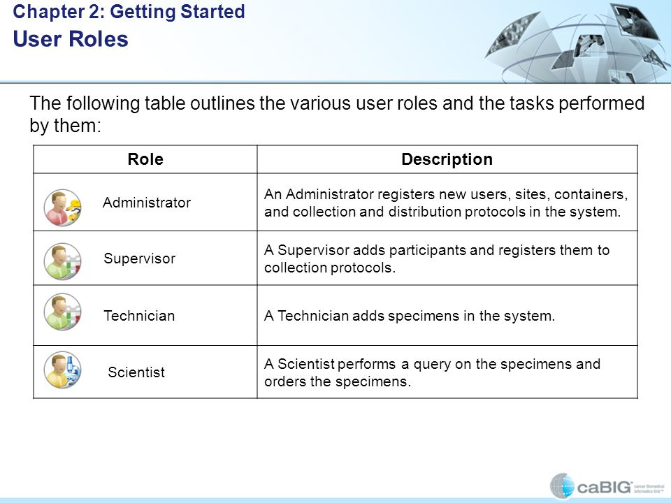 The following table outlines the various user roles and the tasks performed by them: RoleDescription Administrator An Administrator registers new users, sites, containers, and collection and distribution protocols in the system.