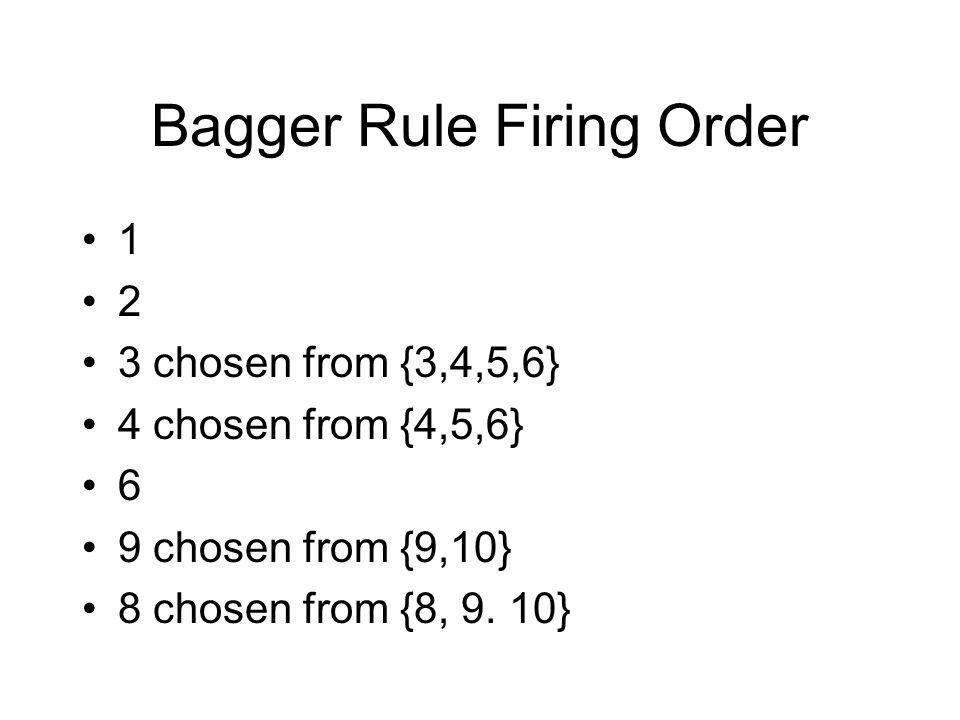 Bagger Rule Firing Order 1 2 3 chosen from {3,4,5,6} 4 chosen from {4,5,6} 6 9 chosen from {9,10} 8 chosen from {8, 9. 10}