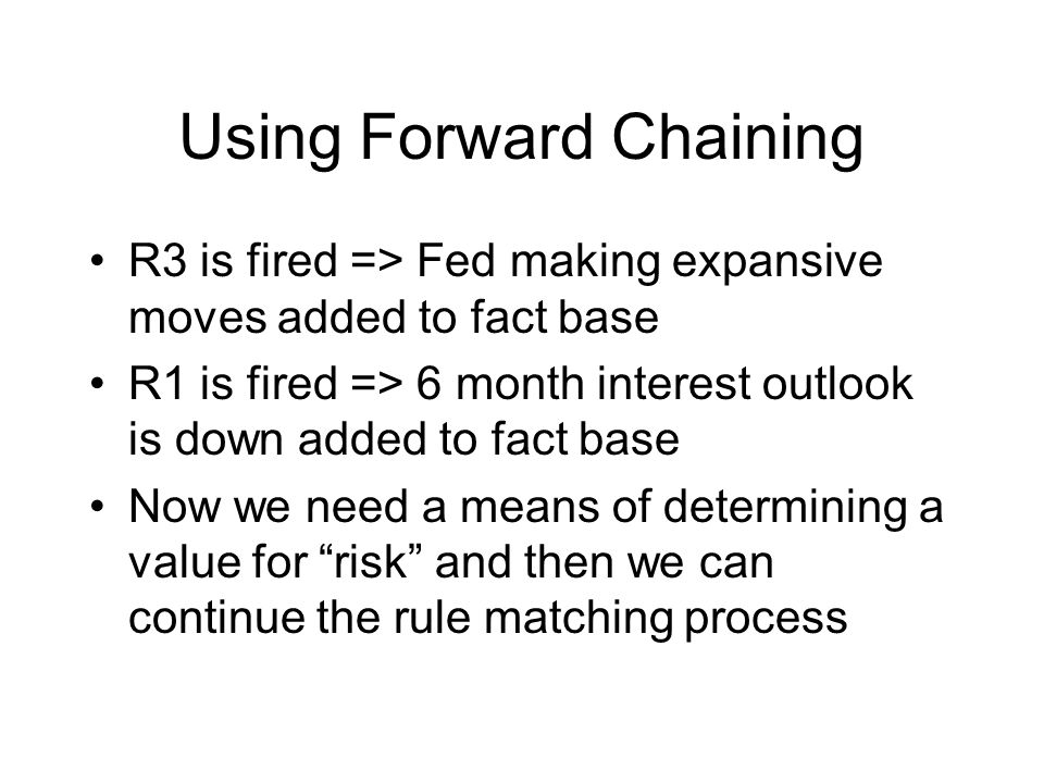 Using Forward Chaining R3 is fired => Fed making expansive moves added to fact base R1 is fired => 6 month interest outlook is down added to fact base