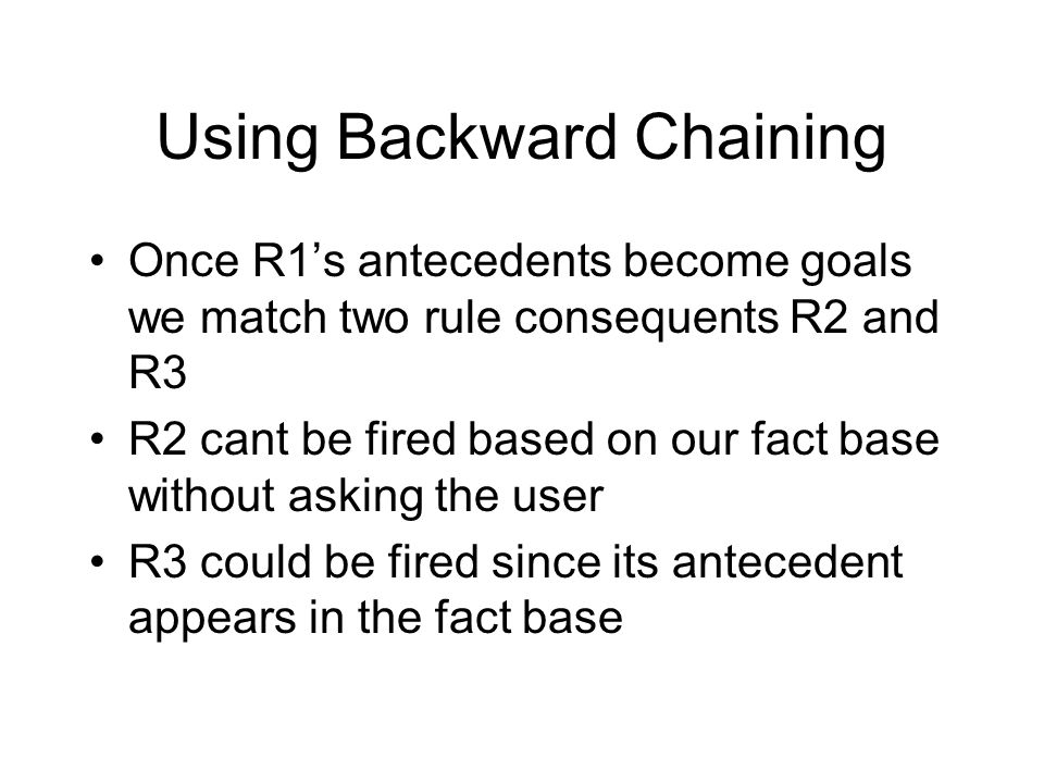 Using Backward Chaining Once R1's antecedents become goals we match two rule consequents R2 and R3 R2 cant be fired based on our fact base without ask