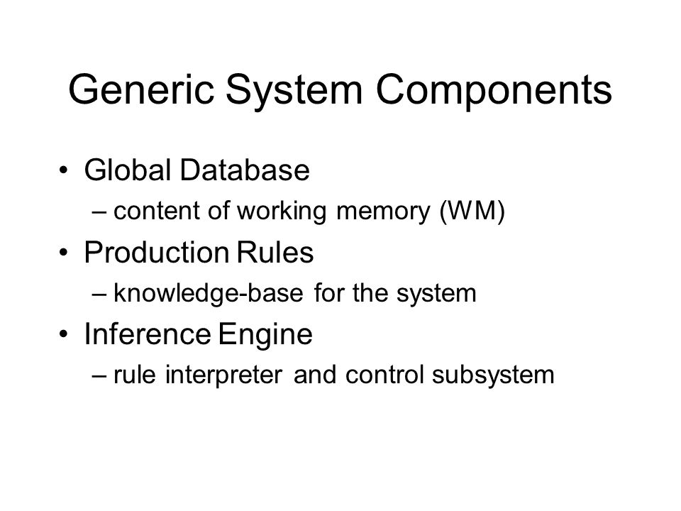 Generic System Components Global Database –content of working memory (WM) Production Rules –knowledge-base for the system Inference Engine –rule interpreter and control subsystem