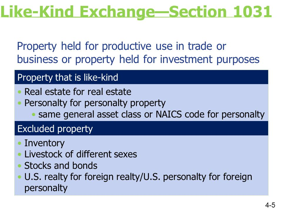 Like-Kind Exchange—Section 1031 Property held for productive use in trade or business or property held for investment purposes 4-5 Property that is like-kind Real estate for real estate Personalty for personalty property same general asset class or NAICS code for personalty Excluded property Inventory Livestock of different sexes Stocks and bonds U.S.