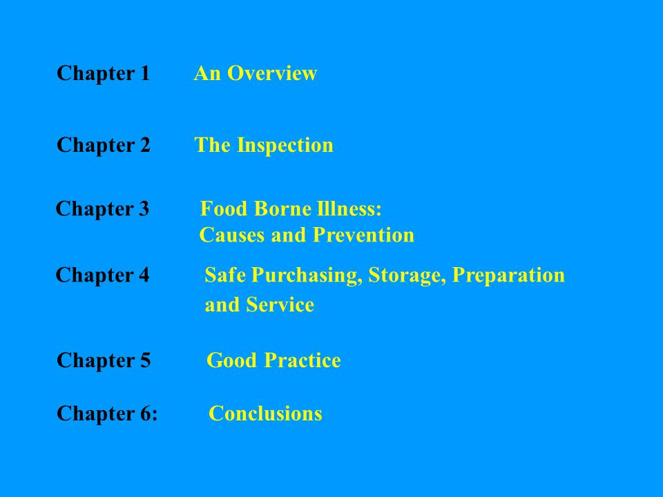 Chapter 1 An Overview Chapter 2 The Inspection Chapter 3 Food Borne Illness: Causes and Prevention Chapter 4 Safe Purchasing, Storage, Preparation and