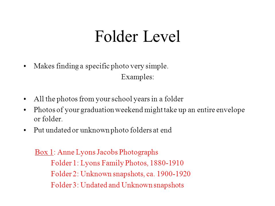 Folder Level Makes finding a specific photo very simple.
