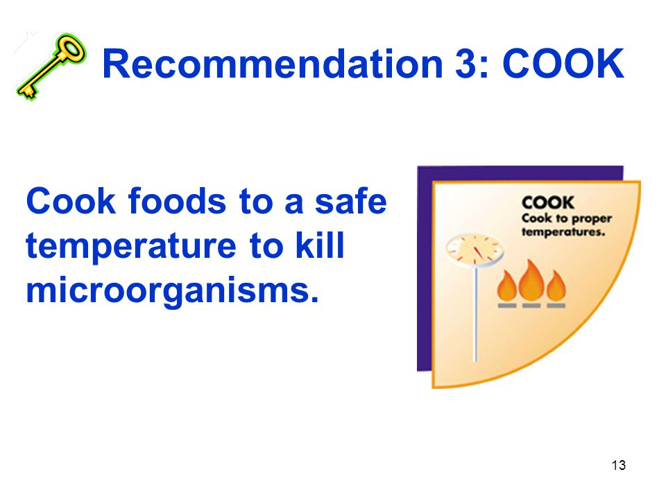 13 Recommendation 3: COOK Cook foods to a safe temperature to kill microorganisms.