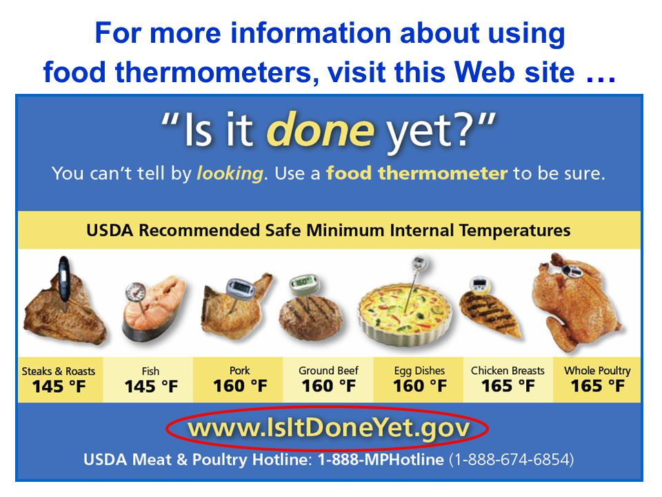 18 For more information about using food thermometers, visit this Web site …