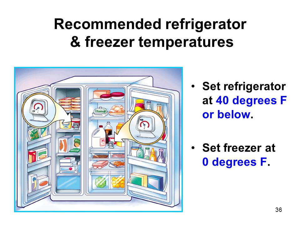 36 Recommended refrigerator & freezer temperatures Set refrigerator at 40 degrees F or below.