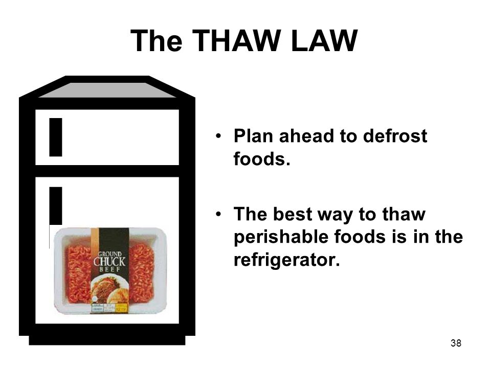 38 The THAW LAW Plan ahead to defrost foods.