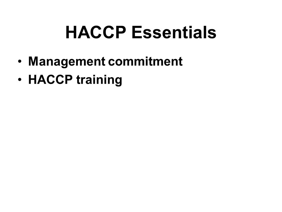 HACCP Essentials Management commitment HACCP training