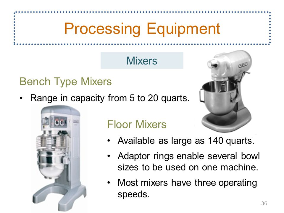 Bench Type Mixers Range in capacity from 5 to 20 quarts. Floor Mixers Available as large as 140 quarts. Adaptor rings enable several bowl sizes to be