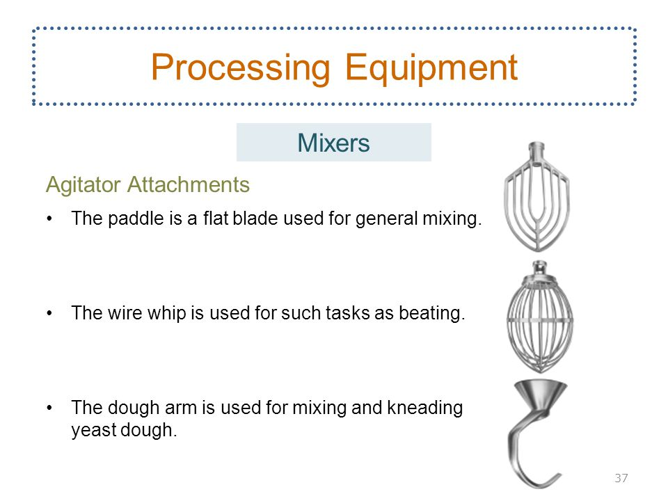 Agitator Attachments The paddle is a flat blade used for general mixing. The wire whip is used for such tasks as beating. The dough arm is used for mi