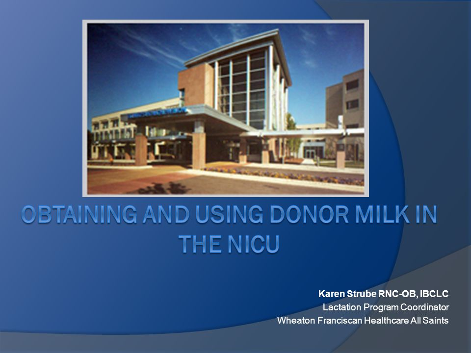 PDHM Log Book Pasteurized Donor Human Milk (PDHM) Log Book  Wheaton Franciscan Healthcare – All Saints St.