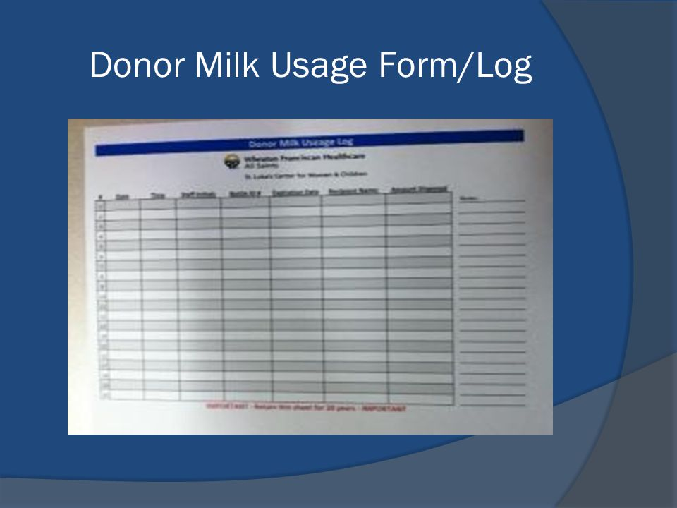 Donor Milk Usage Form/Log