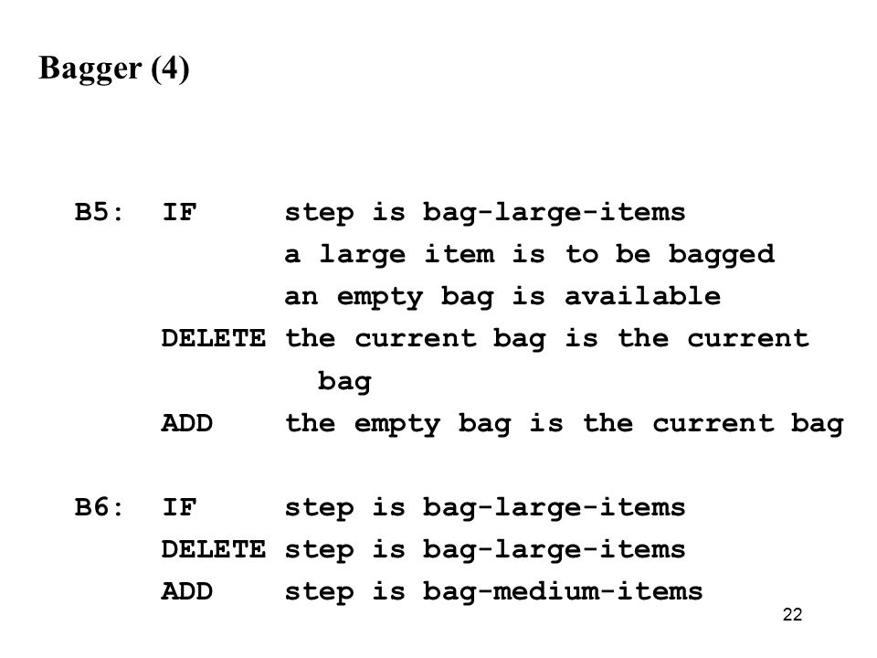 22 Bagger (4) B5: IF step is bag-large-items a large item is to be bagged an empty bag is available DELETE the current bag is the current bag ADD the empty bag is the current bag B6: IF step is bag-large-items DELETE step is bag-large-items ADD step is bag-medium-items