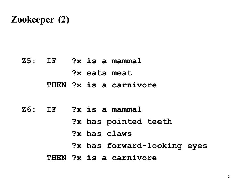 3 Zookeeper (2) Z5: IF x is a mammal x eats meat THEN x is a carnivore Z6: IF x is a mammal x has pointed teeth x has claws x has forward-looking eyes THEN x is a carnivore
