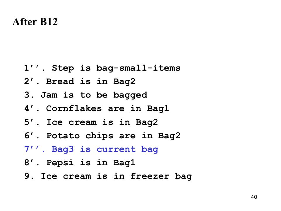 40 After B12 1''. Step is bag-small-items 2'. Bread is in Bag2 3.
